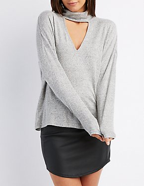 Turtle Neck Lace-Up Back Top