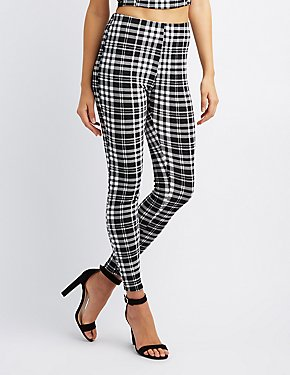 Plaid Print Skinny Pants