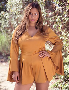Plus Size Satin V-Neck Romper