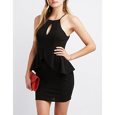 Shimmer Knit Peplum Bodycon Dress