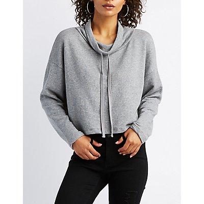 Drawstring Cowl Neck Crop Sweatshirt