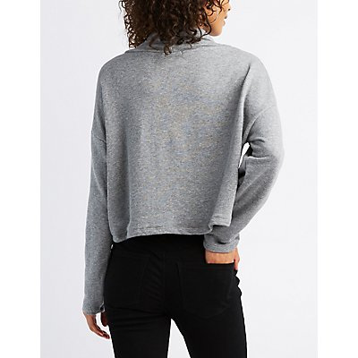 Drawstring Cowl Neck Crop Sweatshirt