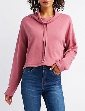 Drawstring Cowl Neck Cropped Sweatshirt
