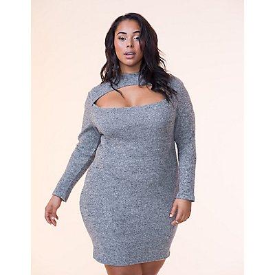 Plus Size Hacci Cut-Out Bodycon Dress