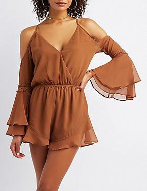 Cold Shoulder Bell Sleeve Surplice Romper