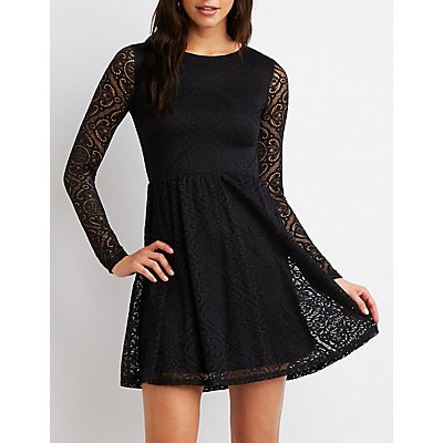 Lace Scoop Neck Skater Dress