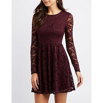 Lace Scoop Neck Skater Dress