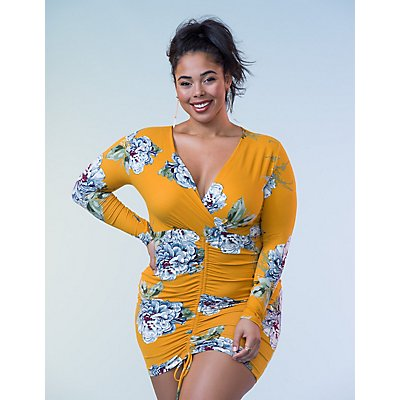 Plus Size Floral Surplice Bodycon Dress