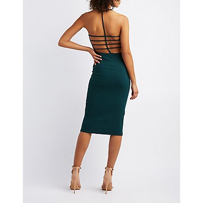 Ribbed Knit Strappy Back Bodycon Dress