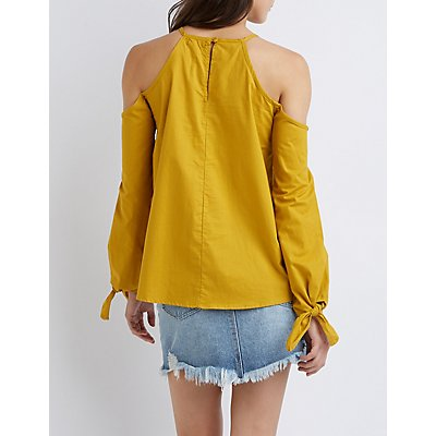 Bib Neck Cold Shoulder Top