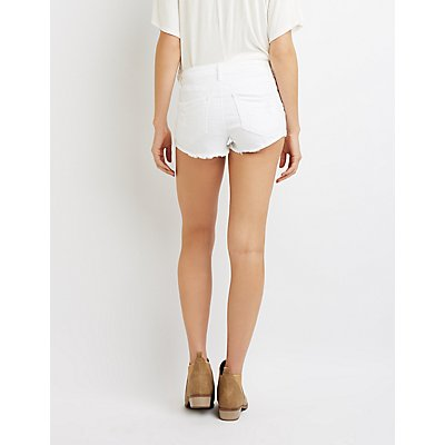 Refuge Destroyed Denim Shortie Shorts