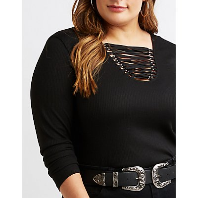 Plus Size Lattice-Front Ribbed Knit Top