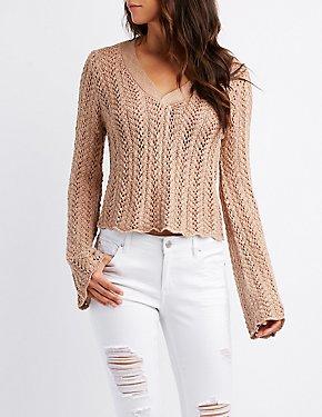 Open Knit Bell Sleeve Sweater