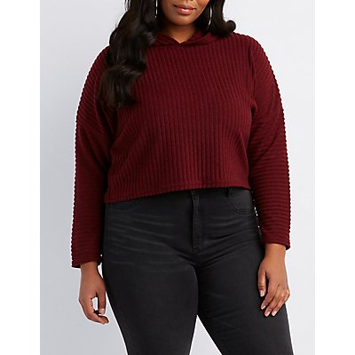 Plus Size Ribbed Knit Crop Top Sweater