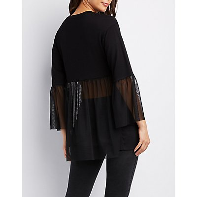 Mesh-Trim Pullover Tunic