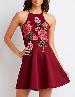 Floral Embroidered Skater Dress