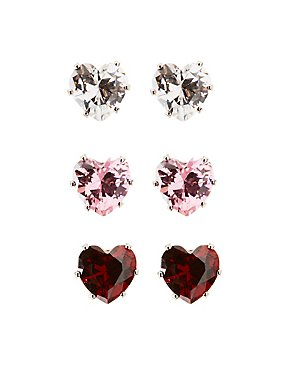 Heart Stud Earrings - 3 Pack