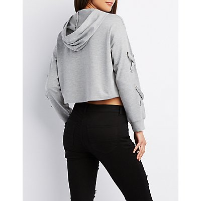 Crop Lace-Up Hooded Sweater