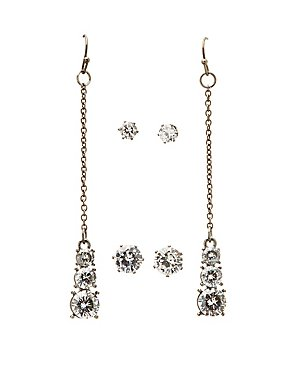 Embellished Stud & Drop Earrings - 3 Pack