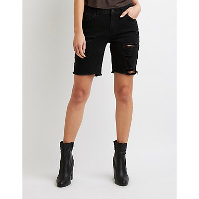 Refuge Destroyed Denim Bermuda Shorts