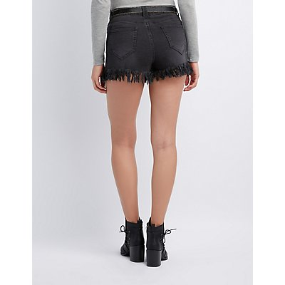 Frayed Hi-Rise Denim Shorts