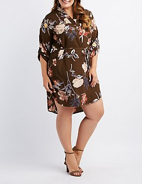 Plus Size Floral Button-Up Shirt Dress