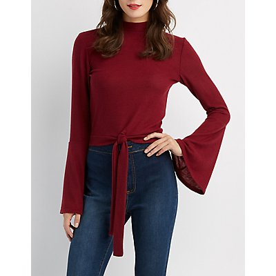 Mock Neck Front Tie Crop Top