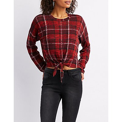 Knotted Plaid Print Pullover Top