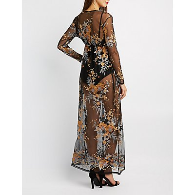Floral Embroidered Mesh Maxi Dress