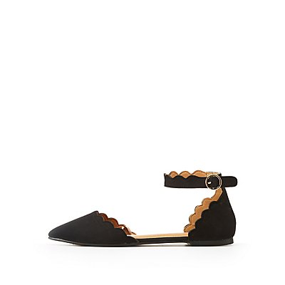 Scalloped Pointed Toe D'Orsay Flats