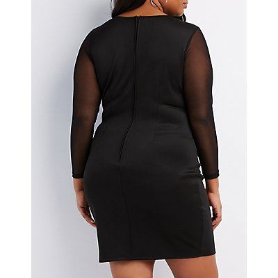 Plus Size Mesh Inset Bodycon Dress