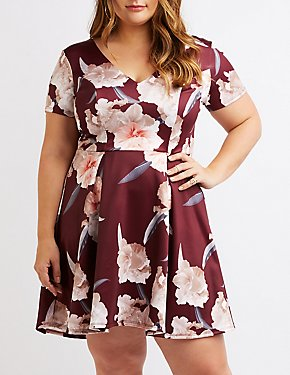 Plus Size Floral V-Neck Skater Dress