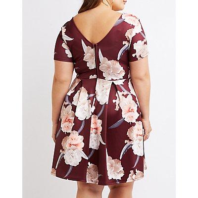 Plus Size Floral V-Neck Skater Dress