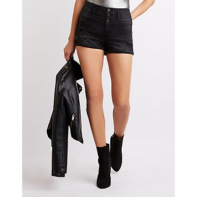 Refuge Hi Waist Shortie Denim Shorts