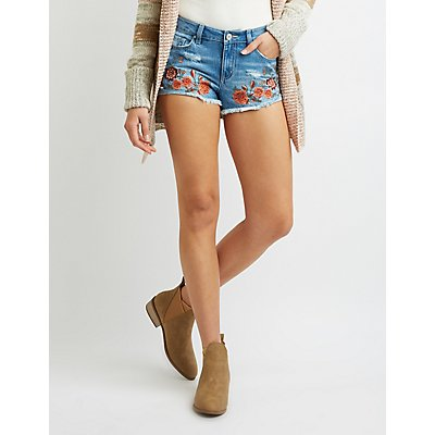 Refuge Embroidered Cut-Off Denim Shorts
