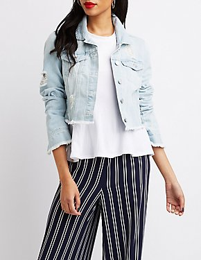 Refuge Destroyed Cropped Denim Jacket