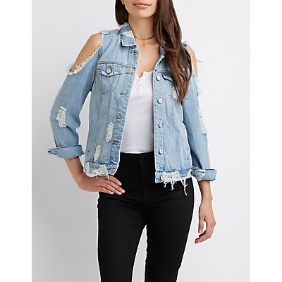 Destroyed Denim Cold Shoulder Jacket