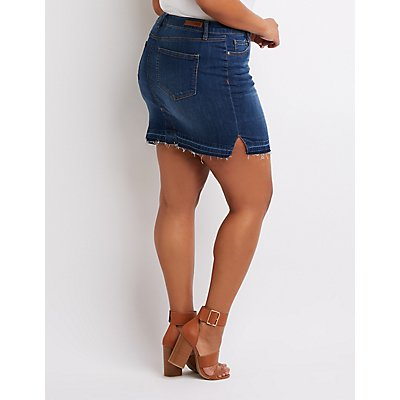 Plus Size Step Hem Denim Skirt