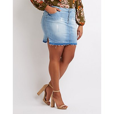 Plus Size Step Hem Denim Mini Skirt