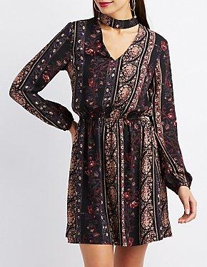 Paisley & Floral Print Dress