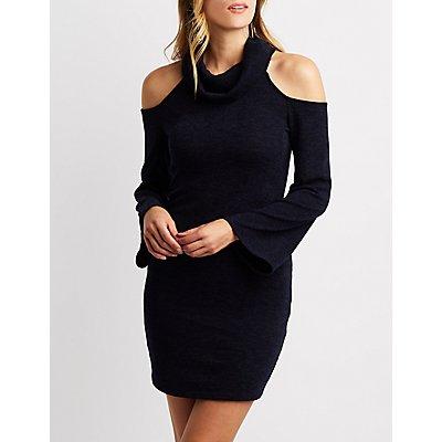 Cowl Neck Cold Shoulder Knit Dress