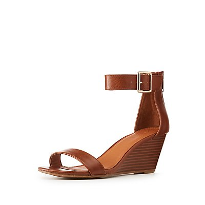 Stacked Wedge Ankle Strap Sandals