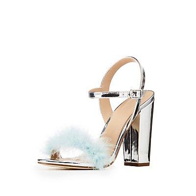 Metallic Feather-Trim Sandals