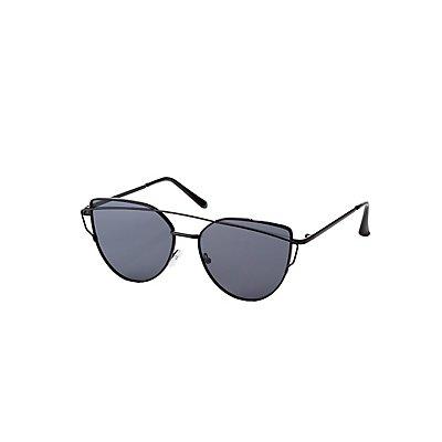 Metal Brow Bar Oversized Cateye Sunglasses
