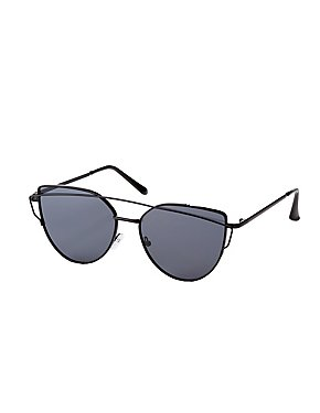 Metal Brow Bar Oversized Cateye Sunglasses