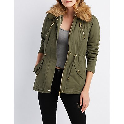 Faux Fur Collar Anorak Jacket