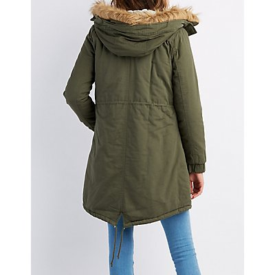 Faux Fur-Trim Longline Anorak Jacket