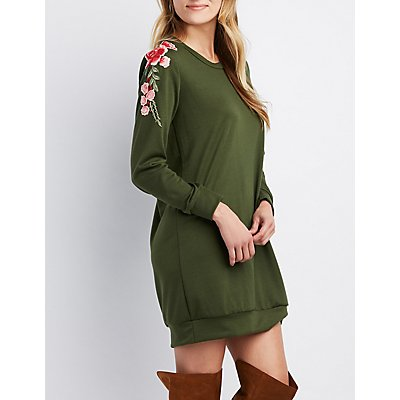 Floral Embroidered Sweatshirt Dress