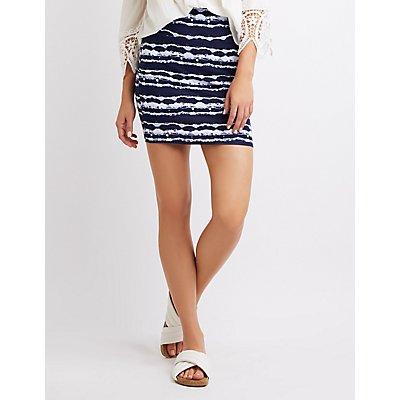 Tie Dye Mini Bodycon Skirt