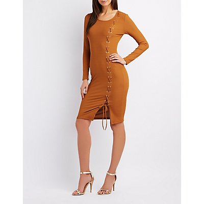 Ribbed Lace-Up Detail Bodycon Dress